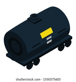 Petrol wagon tank icon. Isometric of petrol wagon tank vector icon for web design isolated on white background