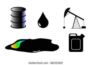 Petroleum clip art set of isolated elements, isolated fuel barrel petroleum drop, petroleum paddle, fuel natural energy recourse vector clipart, oil and gas industry picture, petroleum industry set