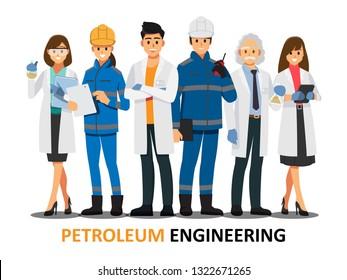 Petroleumtechnik-Team, Vektorgrafik-Zeichentrickfigur.