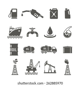 Petroleum industry black icon set with fuel tanker transportation terminal drilling well isolated vector illustration