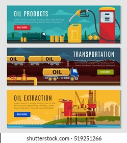 Petroleum industry horizontal banners set with oil products transportation and extractive equipment isolated vector illustration