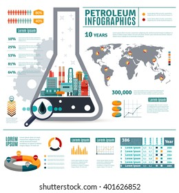 Petroleum Industry Infographics with oil drop map of world diagrams graphs statistics on white background vector illustration