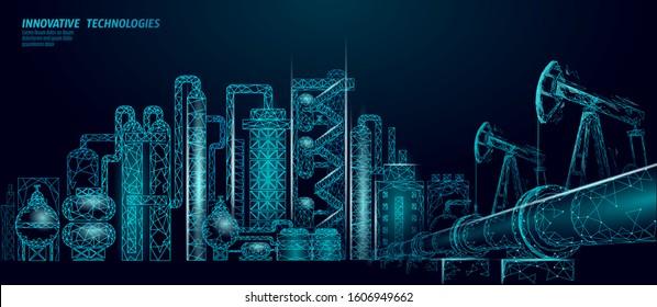 Petroleum oil refinery complex low poly business concept. Finance economy polygonal petrochemical production plant. Petroleum fuel industry will pipeline. Ecology solution blue vector illustration