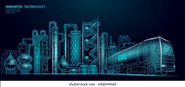 Petroleum oil refinery complex low poly business concept. Finance economy polygonal petrochemical production plant. Petroleum fuel industry truck. Ecology solution blue vector illustration