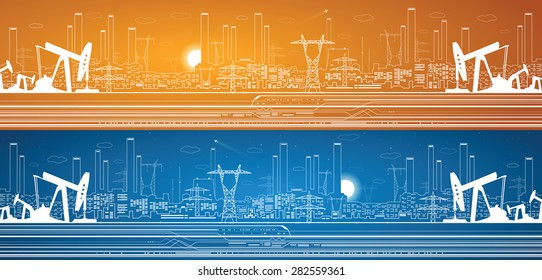 Petroleum panorama, industrial landscape, power plant, vector lines design, day and night