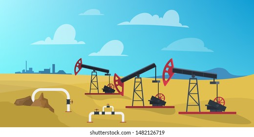 Petroleum production industry concept. Oil derrick construction drilling fuel and gas. Vector illustration in cartoon style