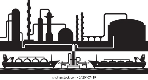 Petroleum rafinery sea export terminal - vector illustration