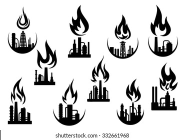 Petroleum refinery and chemical industrial plant icons set with silhouettes of flare stacks, pipes and flames above them, for oil and gas industry theme