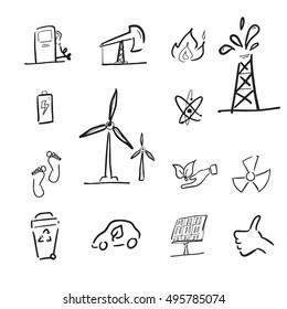 Petroleum and renewable energy cartoon icons