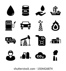 petroleum solid icons vector design