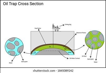 Petroleum system trap diagram, basic scenario with anticline structure trap, oil water contact and reservoir sands close up detail
