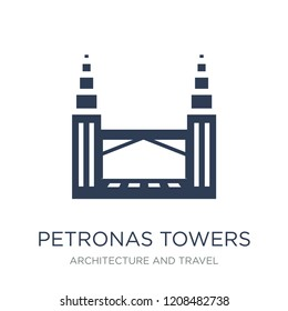 Petronas towers icon. Trendy flat vector Petronas towers icon on white background from Architecture and Travel collection, vector illustration can be use for web and mobile, eps10