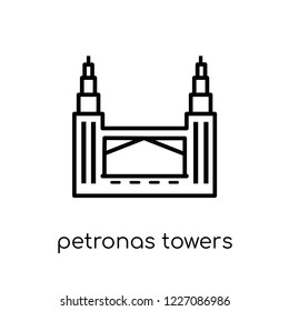 Petronas towers icon. Trendy modern flat linear vector Petronas towers icon on white background from thin line Architecture and Travel collection, editable outline stroke vector illustration