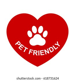 Pets allowed, pet friendly red heart sign, vector illustration.