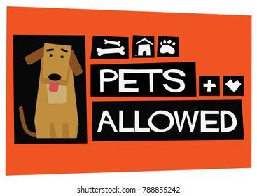 Pets Allowed Poster Sign Board Design For Door