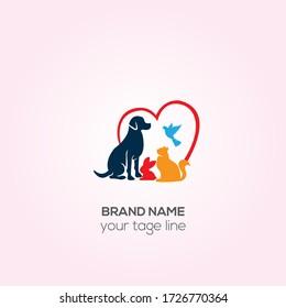 Pets animal vet clinic logo, Dog and cat health cherty logo