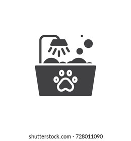 Pets bath icon vector, filled flat sign, solid pictogram isolated on white. Symbol, logo illustration.