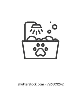 Pets bath line icon, outline vector sign, linear style pictogram isolated on white. Symbol, logo illustration. Editable stroke