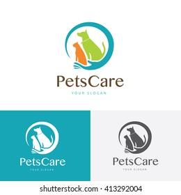 Pets care logo template.