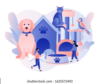 Pets care services. Pet shop. Tiny people and Pets Concept. Pet hotel, daycare, veterinary service. Modern flat cartoon style. Vector illustration on white background