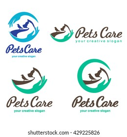 Pets Care vector logo design templates