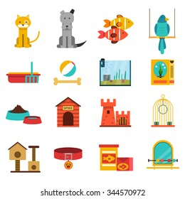 Pets flat icons set with cat dog fishes and bird isolated vector illustration