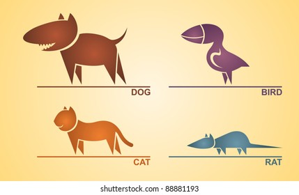 Pets, Flat style, Vector, abstract, icons