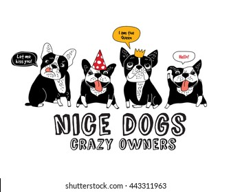 Pets French bulldog isolate white and fun sign. Color vector illustration. EPS8
