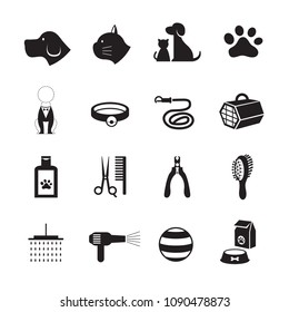 Pets Grooming Shop Icons, Black and White