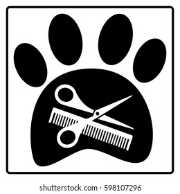 Pets hair salon. Scissors