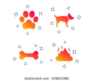 Pets icons. Dog paw and feces signs. Clean up after pets. Pets food. Random dynamic shapes. Gradient pets icon. Vector