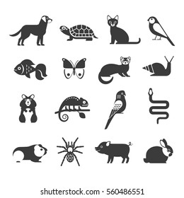 Pets icons set. Vector collection of modern black icons of domestic mammals, rodents, insects, birds and reptiles, including dog, cat, rabbit, ferret, parrot, snake, chameleon, hamster and tarantula.