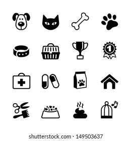 Pets icons set. Veterinary emblems and sign