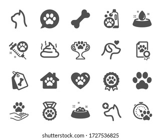 Pets icons. Veterinary, dog care and cat food. Lovely animals, shampoo for pets and doghouse icons. Vaccine, pet care and dog paw. Winner cup, certificate and medal. Animal feces. Vector