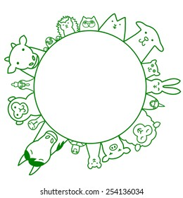 Pets  and livestock circle with copy space