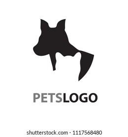 Pets logo isolated on white background. Pets logo for web site, label and wallpaper template. Useful for poster, placard, ad, cover and print materials. Creative art concept,vector illustration,eps 10