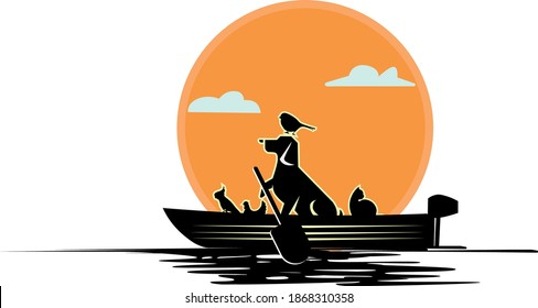 Pets On A Boat Logo . Charming logo of a gang of pets on a boat, this logo is suitable for companies on the pet business.