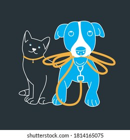 Pets on a dark background. A cat with a collar and a dog with a leash in his teeth in a waiting position. Stylized illustration for mobile applications