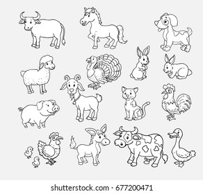 Pets on the farm vector hand drawn set