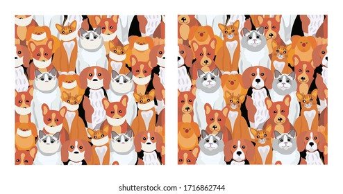 Pets patterns. Pets in medical masks and without masks. Different breeds of dogs and cats. Background or wallpaper of shops for pets, beauty salons for animals, pet food, veterinary clinics.