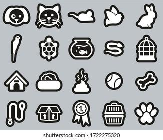Pets & Pet Accessories Icons White On Black Sticker Set Big