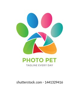 Pets photography logo design - vector