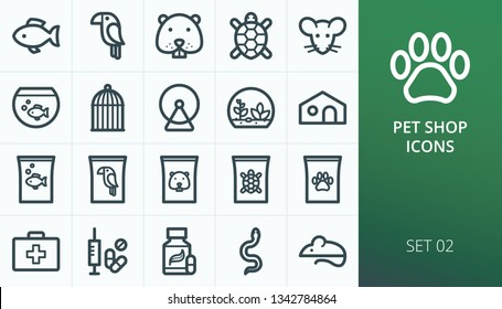 Pets shop icons set. Set of fish, bird, hamster, turtle, mouse, snake, cage, food, vitamins, pills, veterinary, terrarium, aquarium outline vector icons