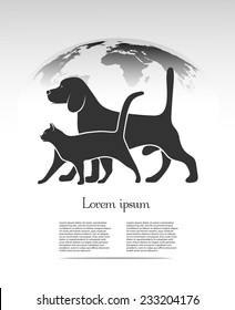 pets silhouettes against the backdrop of the planet
