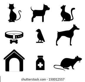 pets silhouettes over white background vector illustration