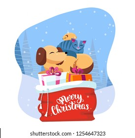 Pets sleeps comfortably on red Santa Claus bag with christmas presents in snowy forest. gift boxes are decorated with ribbons and bows. Lettering Merry Christmas. Flat cartoon vector illustration