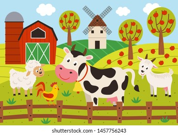 pets stand in the barnyard - vector illustration, eps