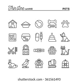 Pets, thin line icons set, vector illustration