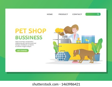 Petshop bussiness with woman, dog, cat and fish
