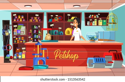 Petshop flat vector illustration. Domestic animals store assortment on shelf. Accessory for dogs, cats, rodents and birds. Pet shop seller female cartoon character standing behind counter desk